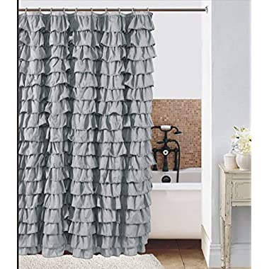 Waterfall Ruffled Fabric Shower Curtain (Silver)