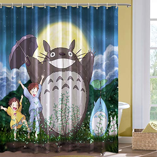 Juego de cortina de ducha de tela con diseño de gato y tots con 12 ganchos para decoración de baño