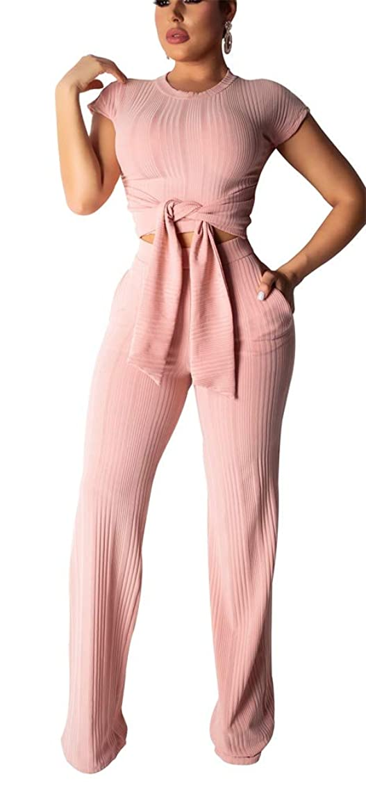 LETSVDO Womens 2 Piece Outfits Striped Short Sleeve Crop Top Jacket and Pants Set Tracksuit Plus Size