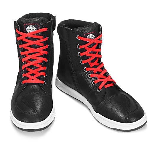 Zapatos de Moto para Hombre Bota de Tobillo Transpirable Equipo de protección Calzado Antideslizante Negro 46 EU