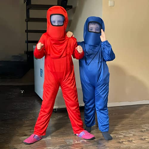 Astronaut Costume A-mong Jumpsuits Kids Boys Halloween Cosplay Christmas Party (Purple, L)