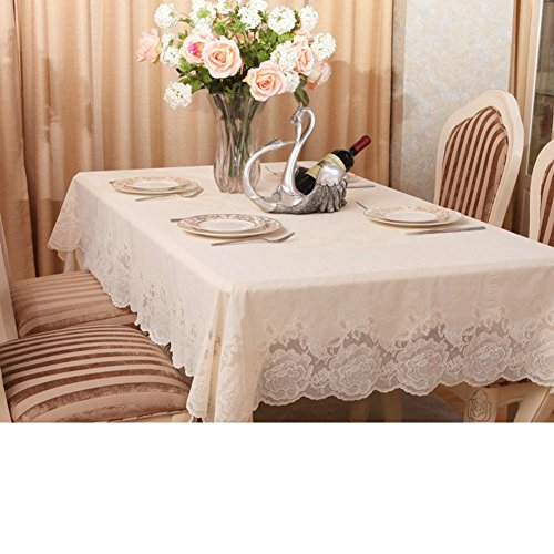 XKQWAN Roses PV C Lace Waterproof Tablecloths Waterproof Oil-proof Disposable Tablecloths Table Mat Rural European-style Tablecloths-A 152x228cm(60x90inch)