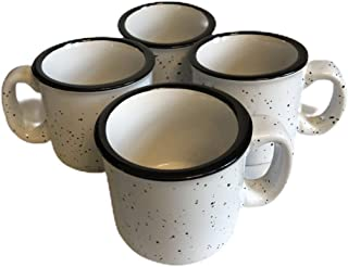 Set of 4 Campfire Coffee, Hot Cocoa And Chocolate Cup Large 15-ounce Ceramic Enamel Mugs - Rustic Camp Fire Speckled Mug For Camping + marshmallow Cups Come in Cute Ceramic and Marble Comes in White