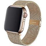 KIMOKU コンパチブル apple watch バンド,コンパチブル iWatch 通用ベルト コンパチブル apple watch series SE/6/5/4/3/2/1に対応 ステンレス留め金(38mm 40mm, ゴールド)