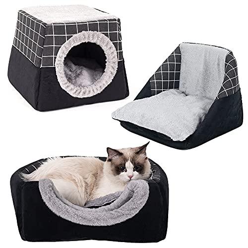 Lifemaison Katzenhöhle 2 in 1 Katzen Haus Haustierbett mit abnehmbarem Kissen Katzenbett Faltbar Haustier Schlafsack Komfortabel Sofa Bett(Schwarz,37 × 36 × 30 cm)