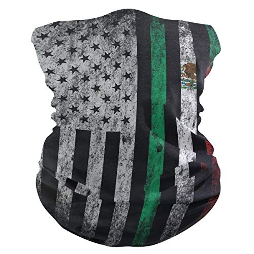 SLHFPX USA and Mexico Flag Combinations Face Mask UV Sun Mask Dust Wind Neck Gaiter Magic Bandana