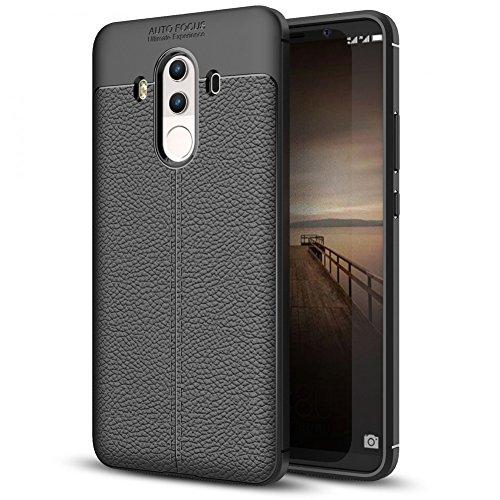 NALIA Custodia compatibile con Huawei Mate 10 Pro, Protezione Aspetto di Cuoio Ultra-Slim Case Protettiva Morbido Cellulare in Silicone Gel, Gomma Bumper Telefono Copertura Sottile - Nero