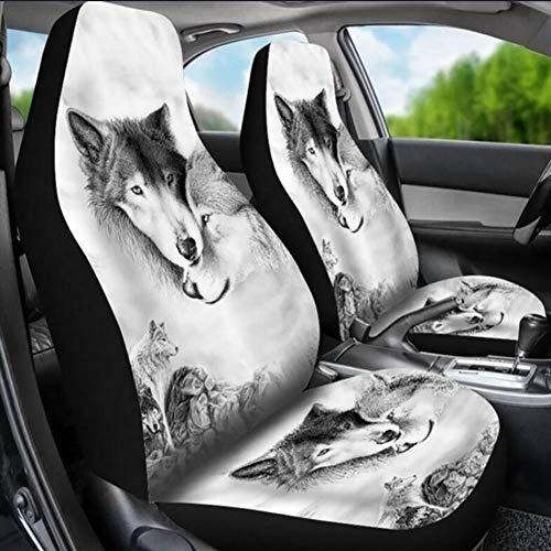 Brandnews Autostoelovertrek, 2 stuks, voor de auto, voorstoelhoezen, ademend, beschermend kussen, tijger, luipaardprint, universele maat voor auto-onderhoud