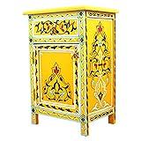 Cómoda oriental amarilla de madera maciza pintada a mano, altura de 68 cm, 1 cajón y 1 puerta, aparador marroquí antiguo, artesanía auténtica de Agadir   100125