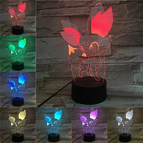 Nur 1 Cartoon 3D-Lampe Fennekin Fokko Nachtlicht LED-Lampe Multicolor ns Geschenk Kid Toy Holiday Gadgets