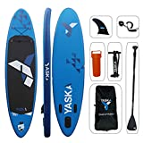 YASKA Inflatable Stand Up Paddle Board 10.4 Feet x 30 Inches x 6 Inches Lightweight & Durable with SUP, Pump, Adjustable Aluminum Floating Paddle, Repair Kit, Backpack and Bottom Fin for Paddling