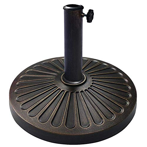 EliteShade Umbrella Base Stand Market Patio Outdoor Heavy Duty Umbrella Holder with Concave Radial Pattern,Bronze