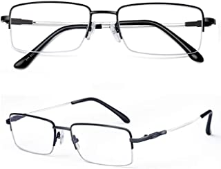 Comfortable Glasses Frame Male Half Frame Titanium Alloy Can Be Equipped with Lens Height Myopia Eye Frame Metal Beautiful (Color : Black, Size : +2.0)