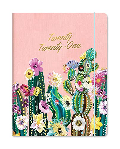 Just Right Monthly Planner 2020-2021 in Desert Blossoms by Orange Circle Studio - 8' x 10' 17-Month Daily Planner with Month-Per-Spread Views, Tear-Off Notes, Elastic Closure & Storage Pocket