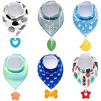 PandaEar Baby Bandana Drool Bibs 6-Pack with Teething Toys, Super Absorbent, 100% Organic Cotton, Neutral Color for Boys & Girls (Neutral)