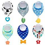PandaEar Baby Bandana Drool Bibs 6-Pack with Teething Toys, Super Absorbent,...