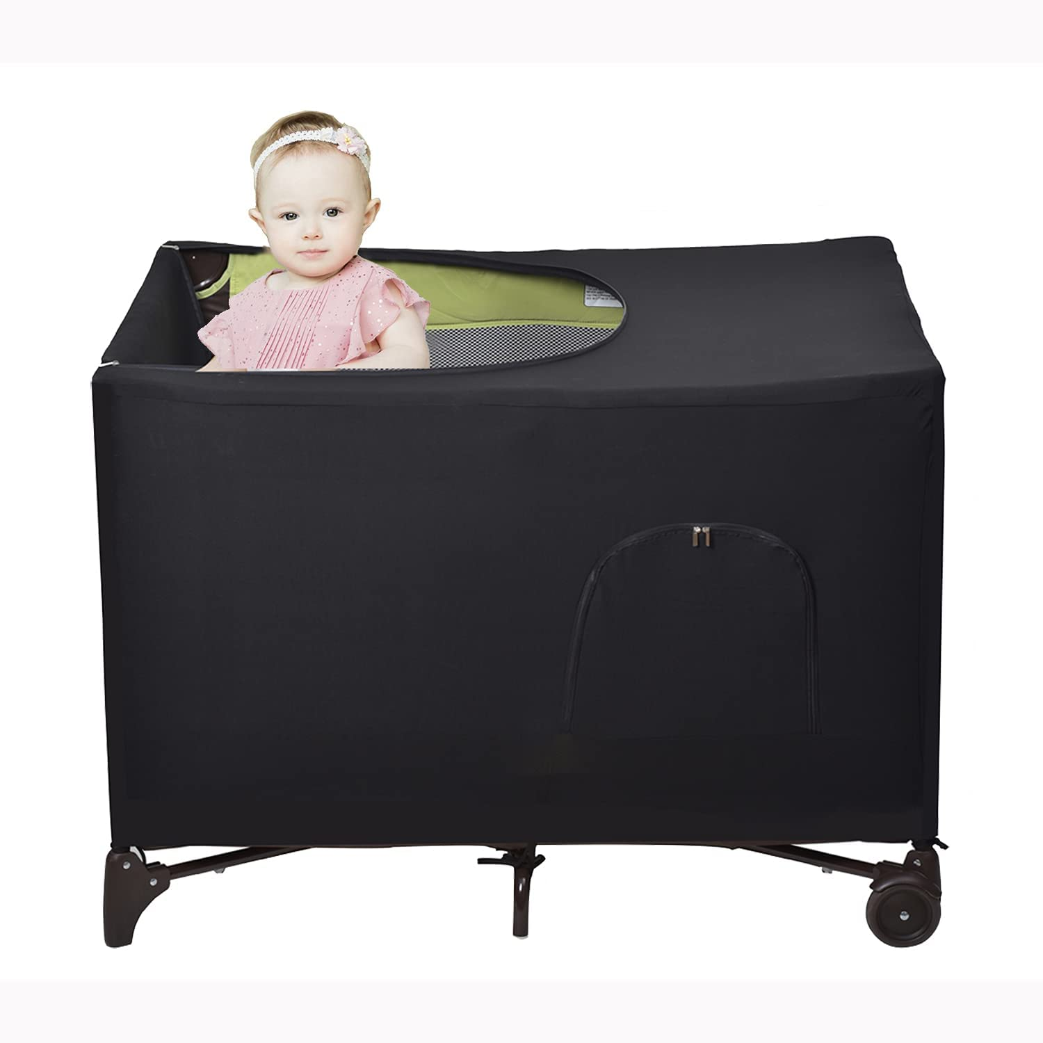 LYFFXYH Crib Blackout Canopy, Tent for Indoor or Outdoor Portable Crib Canopy Cover for Portable Travel Cribs, Stretchy Breathable Crib Netting Sleep and Cover Shade(Black)