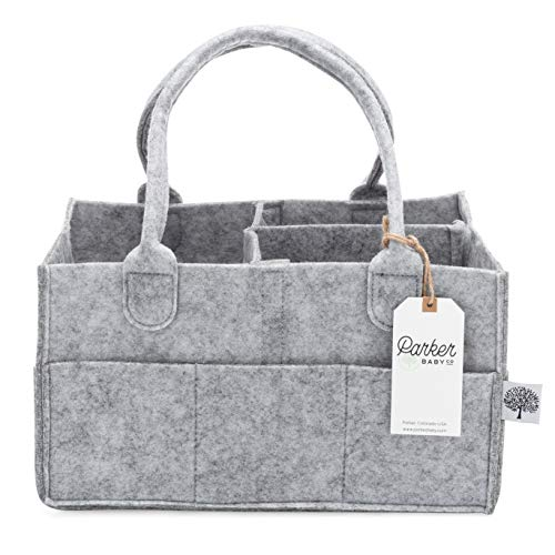 Parker Baby Diaper Caddy - Nursery Storage Bin and Car Organizer for Diapers and Baby Wipes - Grey