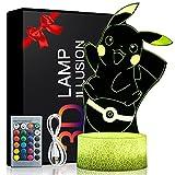 Lámpara de ilusión 3D Anime Pikachu 1 paneles 16 Lámpara de decoración que cambia de color con control remoto, regalos de cumpleaños y Navidad para niños de juguete