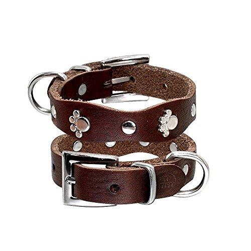 Pet Artist, kleines Hundehalsband aus Leder mit Pfotenabdrücken und Nieten, weich, für Welpen und kleine Hunde wie Chihuahuas, Größen XXS, XS, S, M, braun