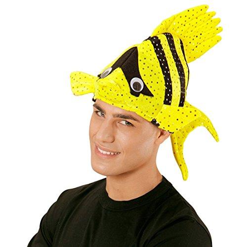 NET TOYS Lustige Fischmütze Tropen Fischhut gelb Fisch Hut Mütze Tierhut Tiermütze Fisch Hut Mütze Faschingshut Nemo