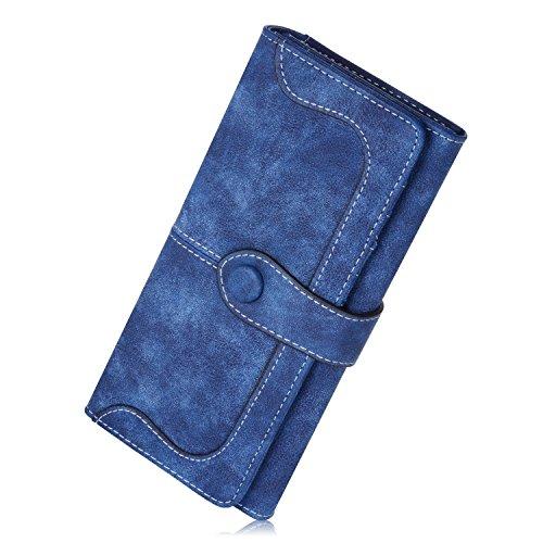 JMSIA Vintage-Ledertaschen Wildleder Tasche Damen Geldbörse Lang Damen Portemonnaie (Blau)