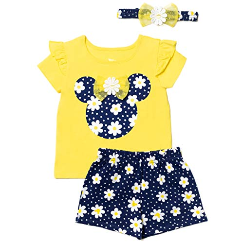 Disney Minnie Mouse Baby Girls T-Shirt Headband & Shorts Set 0-3 Months Yellow