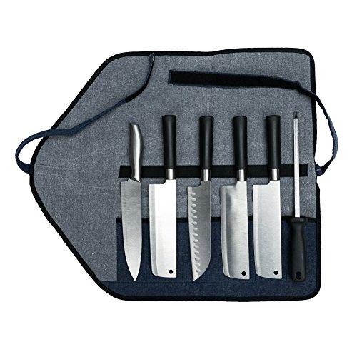 Hanshi Wasserdichte Wachsstoff Messerrolle mit 6 Fächern für Messer und Werkzeug für kulinarische Studenten oder professionelle Chefkoch, ., marineblau