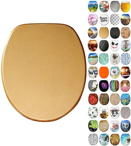 Sanilo toiletbril met soft closing-mechanisme I Hoogwaardige houten toiletzitting I Toiletdeksel in verschillende motieven (Glitter Goud)