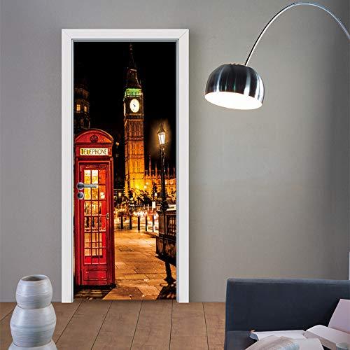 Basa Etiqueta de la Puerta Etiqueta de la Pared Autoadhesiva 3D Paisaje de Londres Dormitorio Casa Puerta Sala de Estar Oficina Etiqueta Decoración Paquete de Dos Piezas 77 * 200