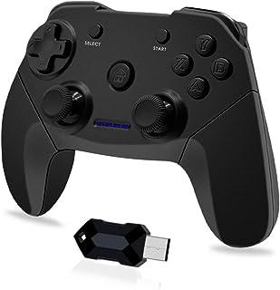Clevo Manette PC, 2.4G Manette PS3 sans Fil Manette pour PC Connectée USB, Manette Contrôleur de Jeu avec Double Vibration...