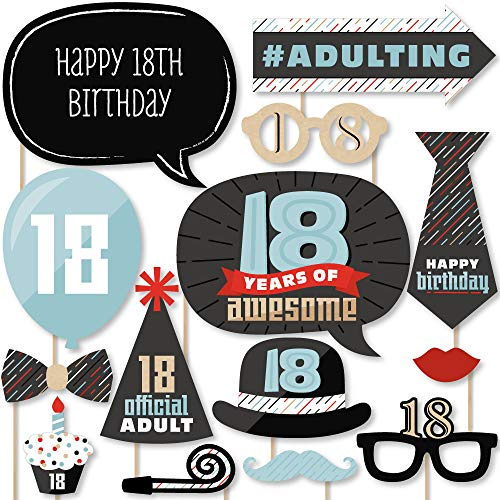 Big Dot of Happiness Boy 18th Birthday - Eighteenth Birthday Party Photo Booth Props Kit - 20 Count