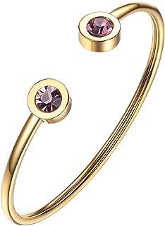 PROSTEEL Jonce Bracelet Femme Personnalisable Bijoux Fantaisie en Acier/Plaqué Or avec Pierre de Naissance Accessoire de Main Cadeau Simple de Anniversaire Saint Valentin