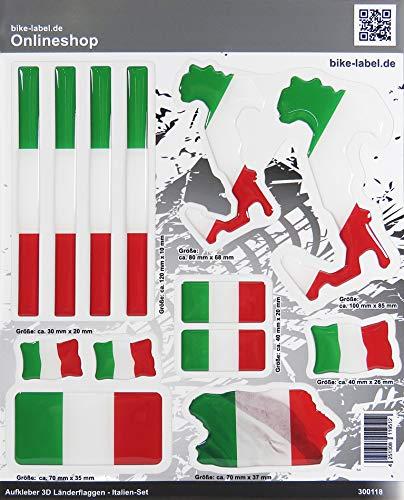 Bike Label 300118N 3D Aufkleber Länder Flaggen Italia Italien Sticker Set mit 7 Formen
