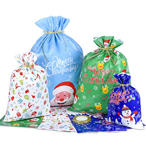 Sacs Cadeaux Noël, Lot de 10 Grands Sacs Emballage Cadeaux de Noël avec Ruban pour la Fête de Noël, Cadeaux, Décorations de Vacances
