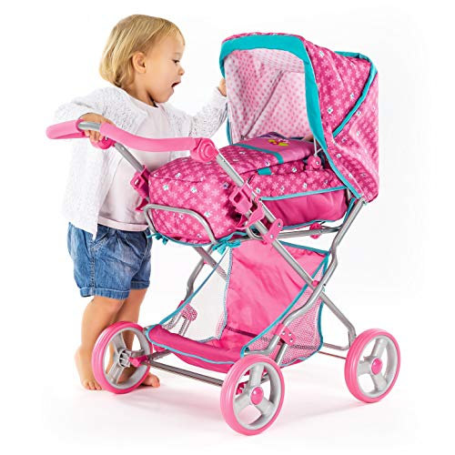 Hauck Kombi- Puppenwagen Julia mit Babyschale, verstellbarer Rückenlehne und großem Spielzeugkorb, Zusammenklappbar, Abnehmbare Reifen - Birdie Pink