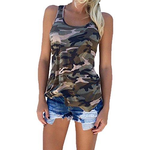 Camisa de Camuflaje para Mujer Top sin Mangas de Moda Militar