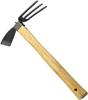 JYT-TOOLS Garden Tool Gardening Digging Hoe Dual-use Hoe and Rake 2 in 1 Carbon Steel Head Wooden Handle Durable Thick Vegetable Flower Planting Digging Gadget