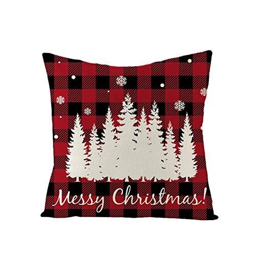 Weihnachten Kissenbezug, Weihnachtsbaum Schneeflocke Rentier Wohnkultur Leinen Dekokissen Cases Xmas Holiday Farmhouse Home Schlafzimmer Dekokissen 45×45cm (Style H)