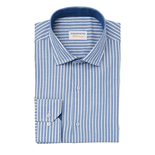 Herren Hemd extra langer Arm 72 cm - mattblau-weiß gestreift - Modern Fit in Überlänge für große Männer - 100% europäische Baumwolle - Freizeithemd - Kent Kragen - Hemd Lissabon (44)