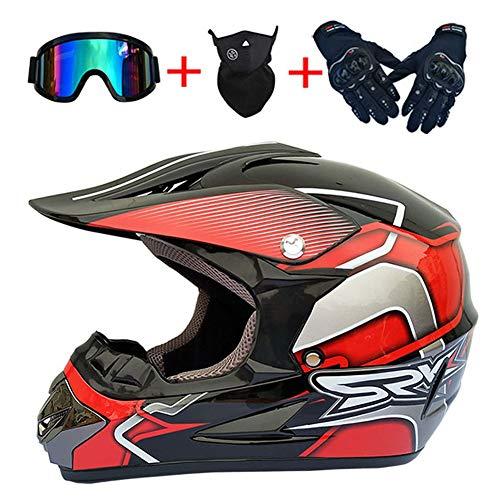 Casco Integral de Motocross para Adultos ATP Certificado ATV MTB MX Motocicleta Moto Dirt Bike DH Rally Enduro Casco Protector (Guantes Gafas Máscara Conjunto de 4),Rojo,52~53cm S