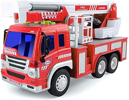 GizmoVine Camion de Pompier Véhicule avec Lumières Sons,éChelle Rotative De Sauvetage Extensible Construction De Jouets De Recul Jouet de Camion (Rouge)