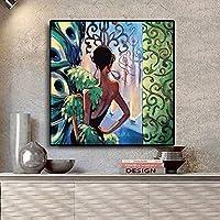 aksldf 古典的な孔雀スタイルの女の子のキャンバスの絵画ヴィンテージポスターとプリントスカンジナビアの北欧の壁アートの写真リビングルームの装飾/ 60x60cmフレームなし