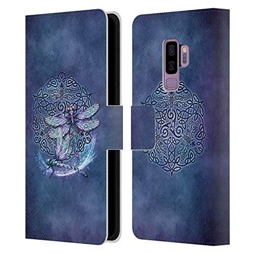 Head Case Designs Officially Licensed Brigid Ashwood Dragonfly Celtic Wisdom Leather Book Wallet Case Cover Compatible with Samsung Galaxy S9+ / S9 Plus
