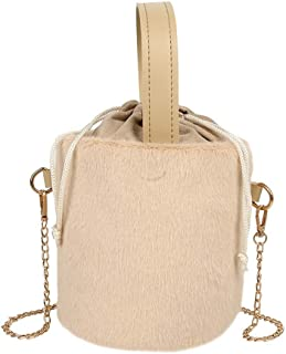 Handbag - Winter Women Drawstring Plush Bucket Bag Ladies Crossbody Bag Small Tote Bag With Shoulder Chain Strap For Daily Travel Shopping, 16 * 17 * 15CM Worth having (Color : Khaki)