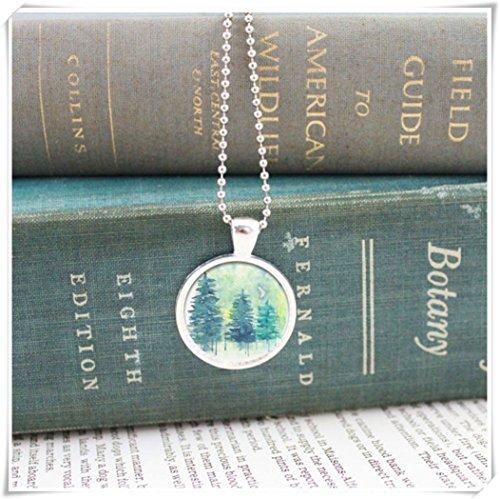 Elf House Collar de bosque, búho collar, colgante de bosque, joyería de bosque, búho de joyería, noroeste del Pacífico, collar de la naturaleza, bosque acuarela, plata
