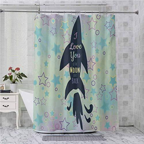 Aishare Store - Cortina de ducha, diseño de peces grandes en estrellas, diseño de cumpleaños inspirador, 72 x 182 cm, cortina de baño para baño, color azul turquesa y rosa