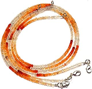 Natural Gemstone Mexican Fire Opal Micro Faceted 3MM Rondelle Beads 18 Inch Full Strand Very Rare Gem Beads Complete Necklace