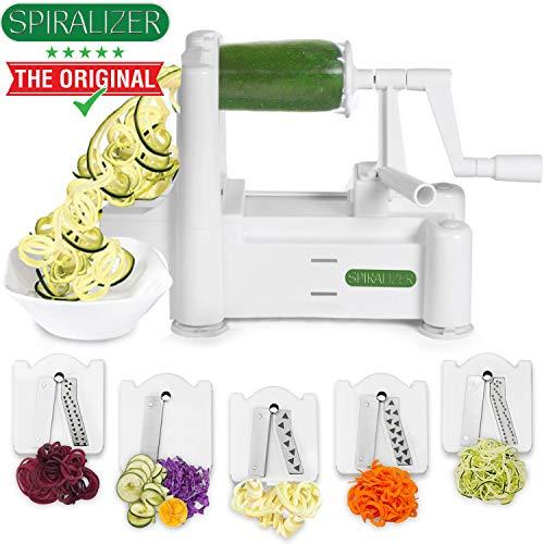 Spiralizer 5-Blade Vegetable Slicer, Strongest-and-Heaviest Spiral Slicer, Best Veggie Pasta Spaghetti Maker for Keto/Paleo/Gluten-Free, Comes with 4 Recipe Ebooks