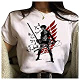Camiseta Attack On Titan, Camiseta Anime 3D Shingeki No Kyojin Scout Regiment Levi·Ackerman Anime Cosplay T-Shirt Casuale Manga Corta Ropa Camisa Sudadera Tops para Hombre Mujere (47,L)
